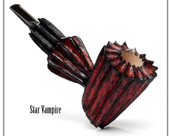 Handmade briar smoking pipe. Star Vampire.