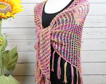 Colorful openwork shawl with fringe, pink, purple, yellow cotton handknit shawl, large triangle lightweight boho fringed wrap