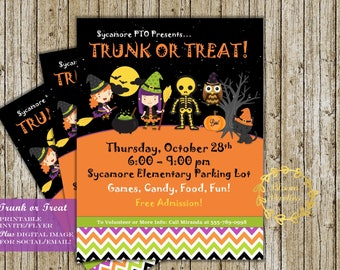 Trunk or Treat Invitation, Flyer Poster Announcement PTO PTA Halloween School or Community Event