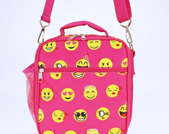 Pink Emoji lunch bag w/ Detachable Shoulder Strap with Personalized Name or Monogram-School lunch bag