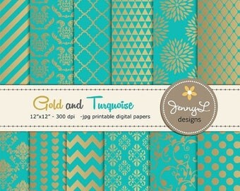 50% OFF Gold and Turquoise Digital Papers, Wedding Birthday Digital Scrapbooking papers, Turquoise Damask Digital Paper, Dahlia Digital Pape