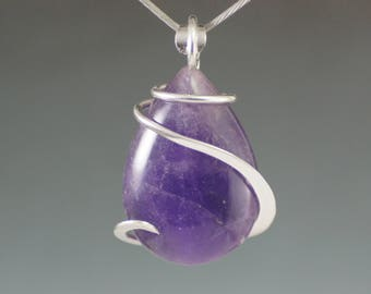 Amethyst Teardrop Cold Forged Sterling Silver Pendant