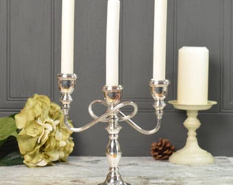 Silver plated vintage candelabra,  freestanding triple candlestick, silver plated copper