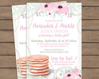 Pancakes and Pearls Baby Shower Invitation- Pink, mint, flowers - Baby shower brunch - Girl - Unique Brunch - Breakfast - Printable PDF,JPG