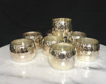 Hammered Silverplate Band Napkin Rings Set of Eight