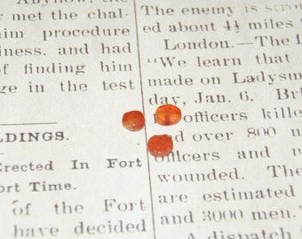 Round 4 pucks of carnelian orange 8mm
