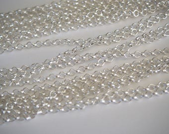 Oval link chain simple 4x3mm silver plated brass – by the yard