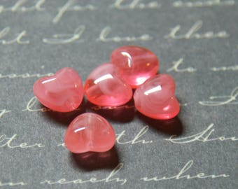 5 8 coral acrylic heart beads, 5x7mm