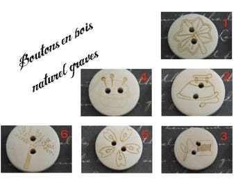 2 buttons natural wood and engraving 20mm