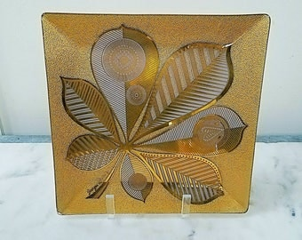 Georges Briard Glass Tray, Gold, Leaf, Leaves, Servware