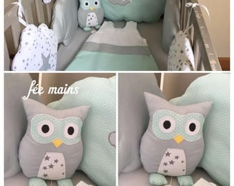 Musical plush or plush OWL or sea green and grey OWL unique and original handmade gift
