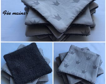 Washable wipes, baby wipes cleansing organic gray printed crowns