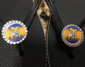 LSU/Louisiana State inspired flip flops