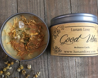 GOOD VIBES Meditation Candle //Tin Candle // Spell Candle // Ritual Candle Love // Abundance // Luck // Witchcraft // Magick