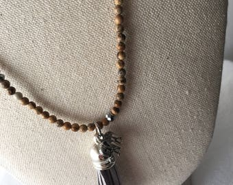 Long necklace, beaded necklace, tassel necklace, stone, handmade, ethnic necklace