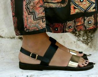 Greek Leather Sandal - Electra-Black leather sandal-Ancient Greek sandal