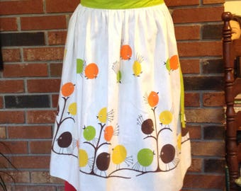 Vintage Half Apron Featuring Cute Chubby Birds / Brown, Yellow, Green, and Orange