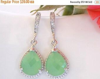 SALE Wedding Jewelry, Mint Green Earrings, Light Green, Pistachio, Silver, Cubic Zirconia, Bridesmaid Jewelry, Bridesmaid Earrings, Dangle,