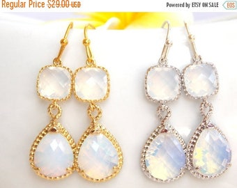 SALE Wedding Jewelry, White Opal Earrings, Clear Opal, Gold, Silver, Opal,Bridesmaid Jewelry, Bridesmaids Gifts, Wedding Gifts, Drop, Dangle