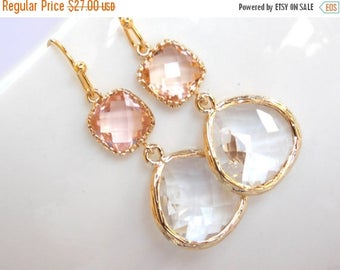 SALE Wedding Jewelry , Crystal and Peach Earrings, Gold, Peach, Clear,Blush,Bridesmaid Earrings,Bridesmaid Gifts, Bridesmaid Jewelry,Dangle,
