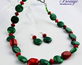 Green and Red Necklace-Semi Precious-Gemstone-Necklace and Earrings-Handmade-Beauje-Christmas necklace-Red coral and malachite beads