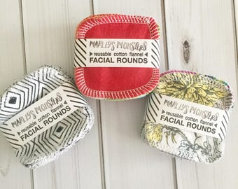 """Reusable Facial Rounds / Marley's Monsters / 20 Eco Friendly 3"""" Cloths / Organic Bamboo / Reusable Cotton Balls / Make Up Remover Pads"""