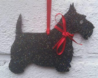 Sparkly Scottish Terrier Scotty Dog Christmas Yule Tree bauble Decoration