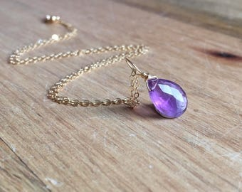 Amethyst Necklace - Amethyst Gemstone Necklace - Amethyst Jewelry - Amethyst  - Crystal Necklace - Amethyst Pendant -February Birthday