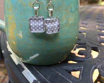 Gray polka dot square glass tile earrings