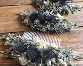 Beautiful NATURAL Bespoke THISTLE Floral Comb.  Dried Flowers, Wedding Hair Piece, Bride, Bridesmaid, Flowergirl, Flower Clips Grips