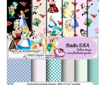 "Alice in Wonderland Digital Scrapbooking Paper 12""x12"" -300dpi-Free Clipart Images Included -Digital Design Paper-INSTANT DOWNLOAD"