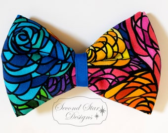 Stained Glass Roses // Interchangeable Bow for Mouse Ears Headband or Hair // Clip-on Bow Tie