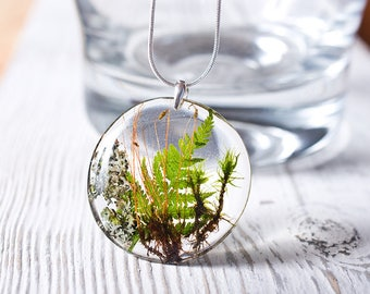 Botanical resin pendant, sterling silver, forest, nature