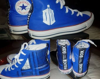 Dr. Who Inspired Custom Painted Shoes Vans/Converse  Size US W 9