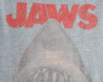 Jaws Tank Top. Vintage T-shirt. Graphic Tee. Top. Retro Blue Men's Small. We're Gonna Need A Bigger Boat. Iconic Film. Summer Streetwear.