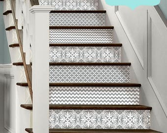 15steps Stair Riser Vinyl Strips Removable Sticker Peel & Stick : BH31 Grey Trio