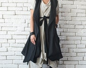 SALE Black Loose Tunic Top/Asymmetric Loose Vest/Sleeveless Linen Shirt/Casual Maxi Tunic/Extravagant Back Accent Top/Black Plus Size Long T