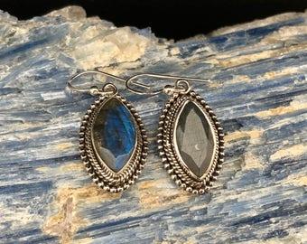 Labradorite Earrings // 925 Sterling Silver // Beaded Marquis Setting // Silver Labradorite Earrings