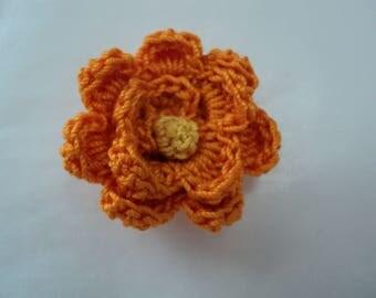 Set of 10 flowers orange yellow ochre Ø 3 cm crochet heart. ref: Z57 3 F65