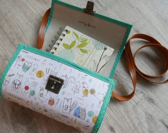 "Handmade paper bag ""Children's games"" and leather strap"
