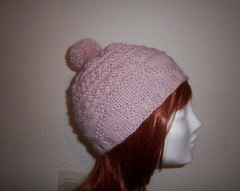 (Pink) alpaca wool hat