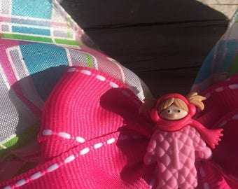 Cozy Winter Pink Little Girl Christmas Hair Bow