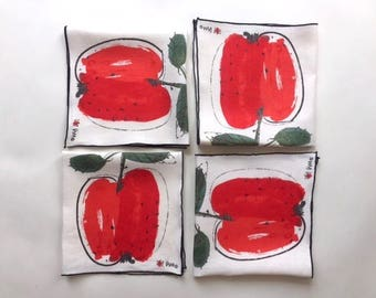 Four Delicious Red Apple Linen Napins by Vera