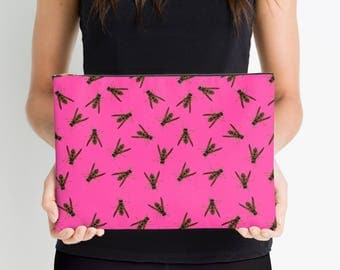 Pink Wasps Accessory Case Insect Nature Photo  Pouch Cosmetic Bag Purse Clutch Accessory Makeup Bag