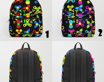 SPINNERS Backpack Fidget Spinners Toy Anxiety Stress Relief Multi Coloured Black School Carryall Bag Shoulder Blue Red Black People Knapsack