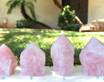 Self-Standing Brazilian Polished Rose Quartz Generator Point- Energy Stand Point- Meditation-Healing Gemstone- Natural Stone- Crystal Grid
