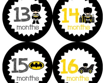 Instant Download Batman Year 2 Monthly Onesie Stickers - Superhero Printable Digital