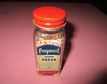 Vintage Pageant Colored Sugar Sprinkles Jar, Cake Decors, Multi Color Sprinkles, 1950's rustic, farmhouse kitchen, primitive kitchen, baking