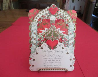 Vintage Unused Hallmark Pop Out Valentine, For You Darling, Three Layer, 1960's, Gold Embossed, Glitter, Greeting Card