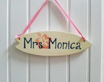 Wooden Door Sign, Surfboard Door Sign, Door Sign, Name Sign, Teachers Gift
